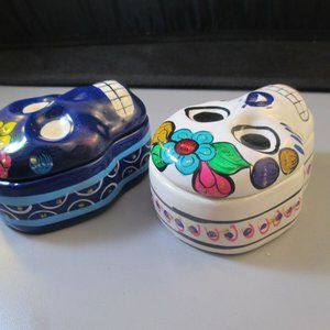 Accents - Vintage Day of the dead Sugar Skull Ceramic boxes